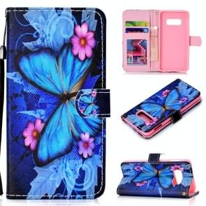 Butterfly Pattern Colored Drawing Horizontal Flip Leather Case for Galaxy S10 E, with Holder & Card Slots & Wallet & Lanyard