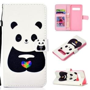 White Bear Pattern Colored Drawing Horizontal Flip Leather Case for Galaxy S10 Plus, with Holder & Card Slots & Wallet & Lanyard