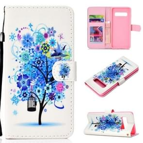 Flower Bird Pattern Colored Drawing Horizontal Flip Leather Case for Galaxy S10 Plus, with Holder & Card Slots & Wallet & Lanyard