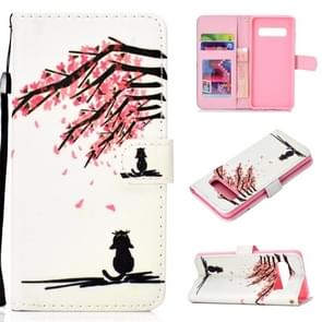 Cherry Tree Pattern Colored Drawing Horizontal Flip Leather Case for Galaxy S10 Plus, with Holder & Card Slots & Wallet & Lanyard