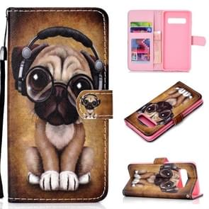 Shar Pei Pattern Colored Drawing Horizontal Flip Leather Case for Galaxy S10 Plus, with Holder & Card Slots & Wallet & Lanyard