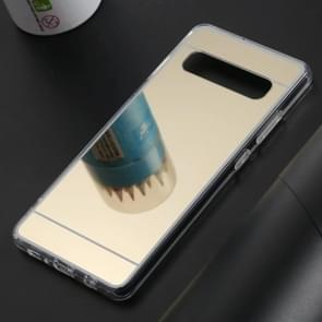Ultra-thin Electroplating Mirror Acrylic TPU Protective Back Cover Case for Galaxy S10 5G(Gold)