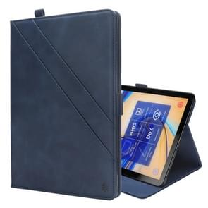 Horizontal Flip Double Holder Leather Case for Galaxy Tab S4 10.5 T830 / T835, with Card Slots & Photo Frame & Pen Slot(Blue)