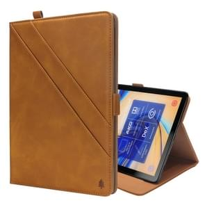 Horizontal Flip Double Holder Leather Case for Galaxy Tab S4 10.5 T830 / T835, with Card Slots & Photo Frame & Pen Slot(Light Brown)