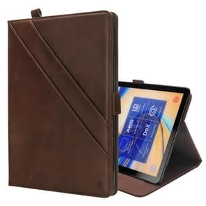 Horizontal Flip Double Holder Leather Case for Galaxy Tab S4 10.5 T830 / T835, with Card Slots & Photo Frame & Pen Slot(Dark Brown)