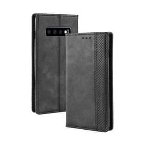 Magnetic Buckle Retro Crazy Horse Texture Horizontal Flip Leather Case for Galaxy S10 (5G), with Holder & Card Slots & Photo Frame(Black)