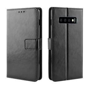 Retro Crazy Horse Texture Horizontal Flip Leather Case for Galaxy S10 (5G), with Holder & Card Slots & Photo Frame (Black)