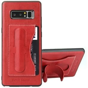 Fierre Shann For Galaxy Note 8 Full Coverage Protective Leather Case with Holder & Card Slot(Red)
