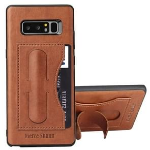 Fierre Shann For Galaxy Note 8 Full Coverage Protective Leather Case with Holder & Card Slot(Brown)