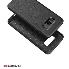 For Galaxy S8 Litchi Texture TPU Protective Back Cover Case (Black)