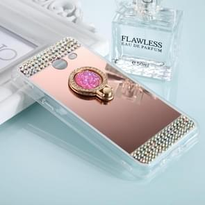 For Galaxy J3 (2017) (US Version) Diamond Encrusted Electroplating Mirror Protective Cover Case with Ring Holder(Rose Gold)