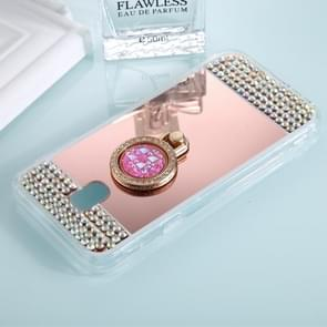 For Galaxy J3 (2017) (EU Version) Diamond Encrusted Electroplating Mirror Protective Cover Case with Ring Holder(Rose Gold)
