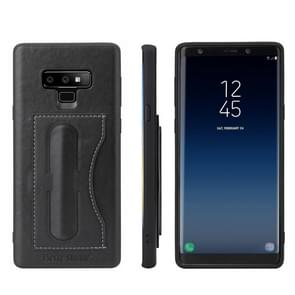 Fierre Shann Full Coverage Protective Leather Case for Galaxy Note9,  with Holder & Card Slot(Black)