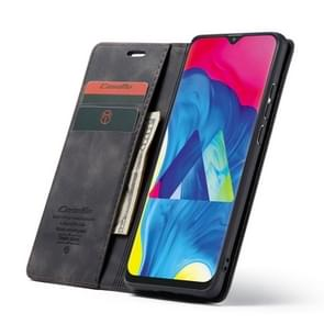 CaseMe-003 Multifunctional Retro Frosted Horizontal Flip Leather Case for Galaxy M10, with Card Slot & Holder & Zipper Wallet & Photo Frame(Black)