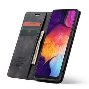 CaseMe-013 Multifunctional Retro Frosted Horizontal Flip Leather Case for Galaxy A50, with Card Slot & Holder & Zipper Wallet & Photo Frame(Black)
