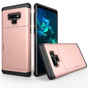 Shockproof Rugged Armor Protective Case for Galaxy Note 9, with Card Slot(Rose Gold)