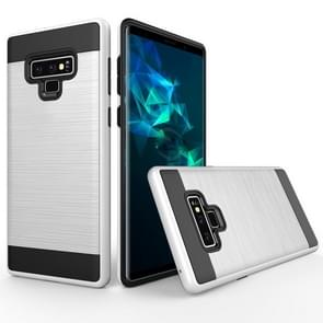 Brushed Texture Shockproof Rugged Armor Protective Case for Galaxy Note 9(White)