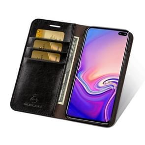 MUSUBO S3 Crazy Horse Texture Horizontal Flip PU Leather Case for Galaxy S10+, with Card Slots & Wallet (Black)