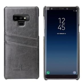 Fierre Shann Retro Oil Wax Texture PU Leather Case for Galaxy Note9, with Card Slots(Black)