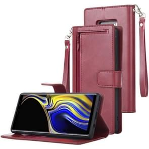MERCURY GOOSPERY DETACHABLE DIARY Horizontal Flip Leather Case with Holder & Card Slots & Zipper & Wallet for Galaxy Note 9 (Wine Red)