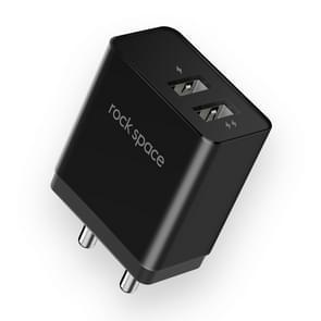 ROCK T8 2.4 A dubbele USB-poort Reisoplader voedings adapter (zwart)