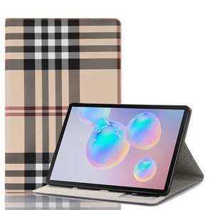 For Galaxy Tab S6 T860 / T865 Plaid Texture Horizontal Flip Leather Case with Holder & Card Slots & Wallet (White)