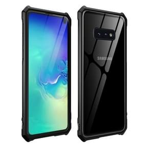 Snap-on Aluminum Frame and Tempered Glass Back Plate Case for Galaxy S10E(Black)