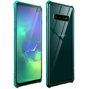 Snap-on Aluminum Frame and Tempered Glass Back Plate Case for Galaxy S10E(Green)