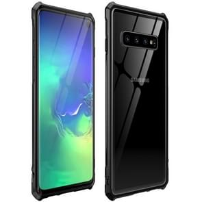 Snap-on Aluminum Frame and Tempered Glass Back Plate Case for Galaxy S10(Black)