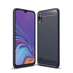 Brushed Texture Carbon Fiber Shockproof TPU Case for Galaxy A10(Navy Blue)