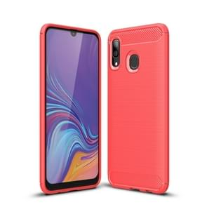 Brushed Texture Carbon Fiber Shockproof TPU Case for Galaxy A30(Red)