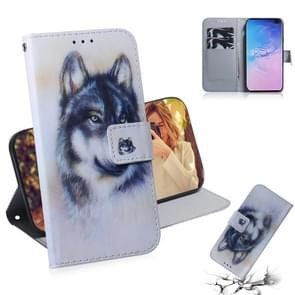 White Wolf Pattern Coloured Drawing Horizontal Flip Leather Case for Galaxy S10 Plus, with Holder & Card Slots & Wallet