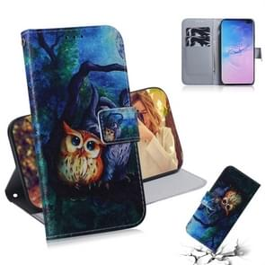 Oil Painting Owl Pattern Coloured Drawing Horizontal Flip Leather Case for Galaxy S10 Plus, with Holder & Card Slots & Wallet