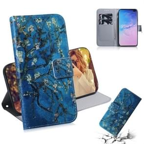 Apricot Flower Pattern Coloured Drawing Horizontal Flip Leather Case for Galaxy S10 Plus, with Holder & Card Slots & Wallet