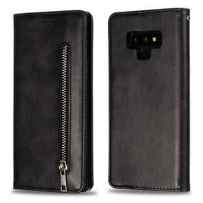 Calf Texture Zipper Magnetic Horizontal Flip Leather Case for Galaxy Note9, with Wallet & Holder & Card Slots (Black)
