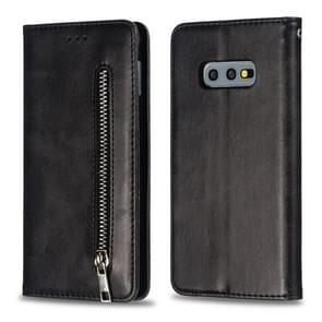 Calf Texture Zipper Magnetic Horizontal Flip Leather Case for Galaxy S10e, with Wallet & Holder & Card Slots (Black)