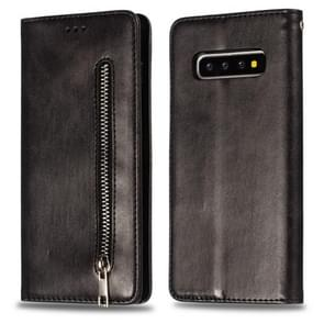 Calf Texture Zipper Magnetic Horizontal Flip Leather Case for Galaxy S10+, with Wallet & Holder & Card Slots (Black)