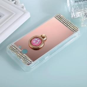 For Galaxy J5 (2017) (US Version) Diamond Encrusted Electroplating Mirror Protective Cover Case with Ring Holder(Rose Gold)