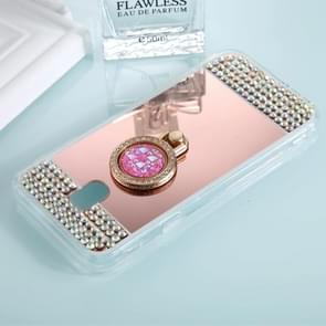 For Galaxy J5 (2017) (EU Version) Diamond Encrusted Electroplating Mirror Protective Cover Case with Ring Holder(Rose Gold)