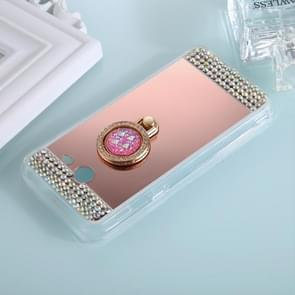 For Galaxy J7 (2017) (US Version) Diamond Encrusted Electroplating Mirror Protective Cover Case with Ring Holder(Rose Gold)