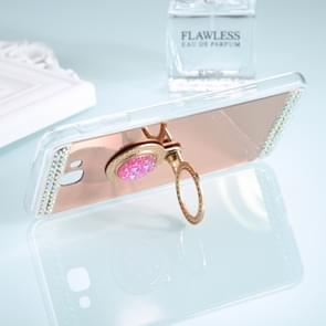 For Galaxy A7 (2017) Diamond Encrusted Electroplating Mirror Protective Cover Case with Ring Holder(Rose Gold)