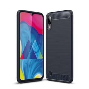 Brushed Texture Carbon Fiber Shockproof TPU Case for Galaxy M10(Navy Blue)