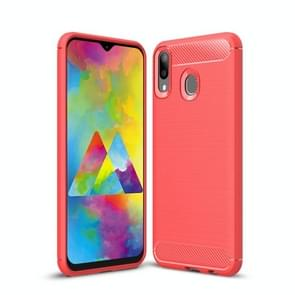Brushed Texture Carbon Fiber Shockproof TPU Case for Galaxy M20(Red)