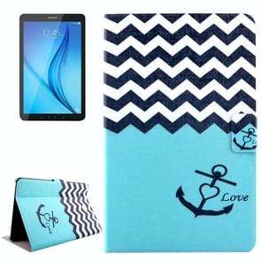 Concise Style Stripes and Anchor Pattern Horizontal Flip Leather Case with Holder & Card Slot for Galaxy Tab E 8.0 / T375