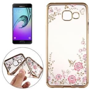 Voor Galaxy A5(2016) / A510 bloemen patronen galvaniseren zachte TPU beschermende kaft Case(Gold)