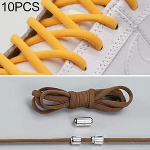 10 paar elastische elastische metalen gesp zonder koppelverkoop schoenveters (bruin)