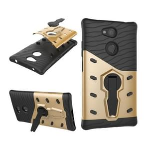 For Sony Xperia L2 PC + TPU Dropproof Sniper Hybrid Protective Back Case with 360 Degree Rotation Holder(Gold)