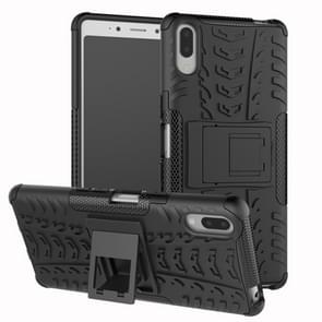 Tire Texture TPU+PC Shockproof Case for Sony Xperia L3, with Holder (Black)