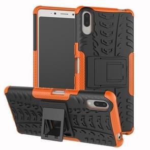 Tire Texture TPU + PC schokbestendig Case voor Sony Xperia L3  met houder (oranje)