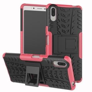 Tire Texture TPU + PC schokbestendig Case voor Sony Xperia L3  met houder (roze)